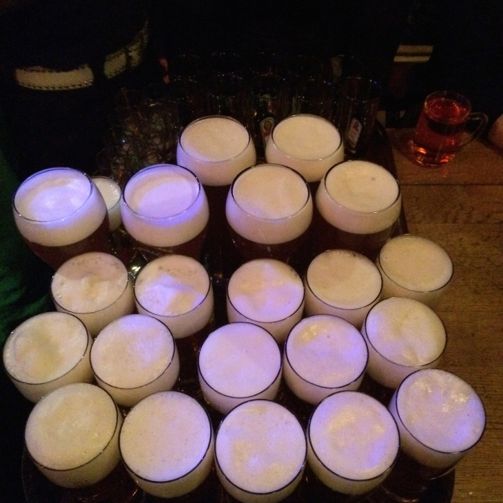 A tray of booze carried by the waiter in Mooserwirt (that's 21 pints of beer plus loads of shooters and jaegerbombs)