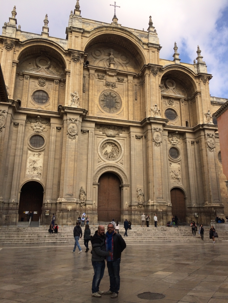 Warren and Eddie outside the Granada cathedral where King Ferdinand and Queen Isabella are buried