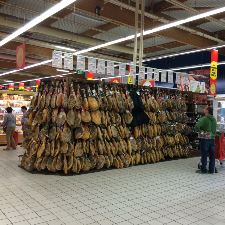 Something you see in Spanish supermarkets - masses of cured ham haunches!