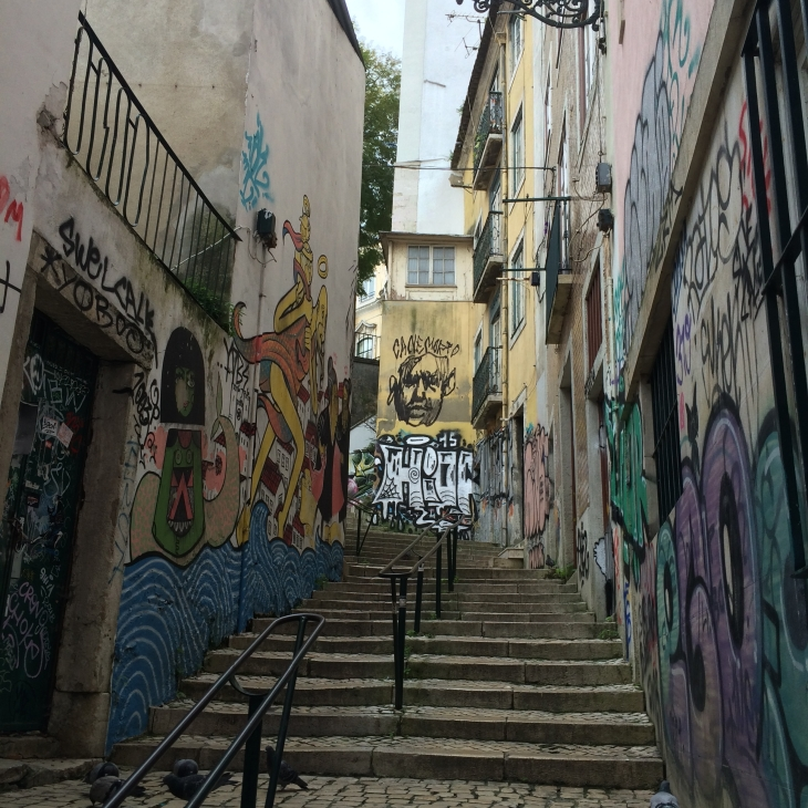 One of the little passageways designated for street art