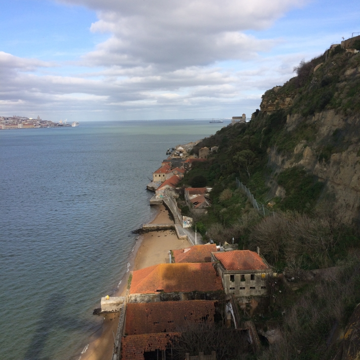 The cliffs opposite Lisbon, near the stature of Christ
